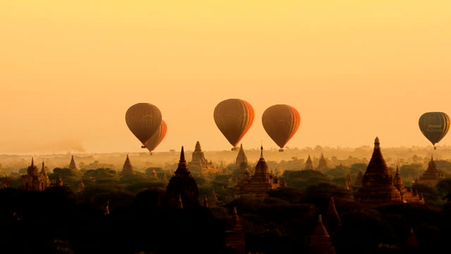 Air balloons over the ancient Buddhist temples video