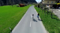 Air view on electric bikes riders video