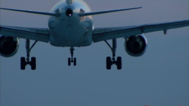 aircraft landing at night video