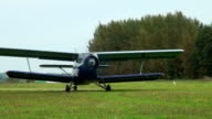 AN-2 aircraft on the airfield video
