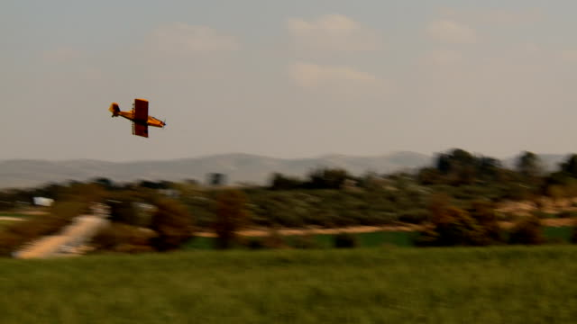 Aircraft. Yellow agriculture aircraft , crop duster with sound video