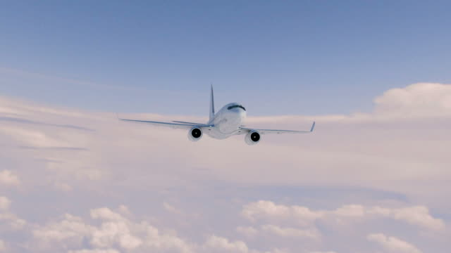 Airliner flies above clouds video