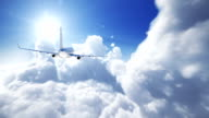 Airplane above the clouds - perfect loop video