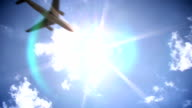 Airplane across sun video