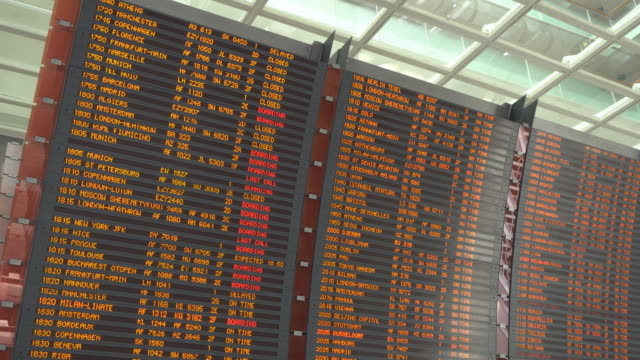Airplane flight information board at airport video