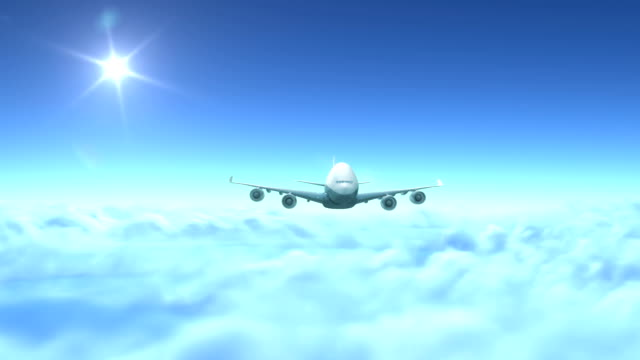 Airplane flying over clouds video