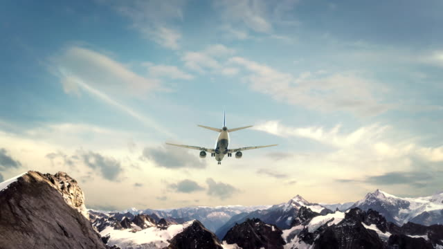 Airplane Landing Alps Switzerland video