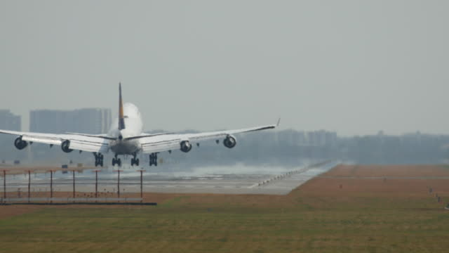 Airplane landing at runway , 4K(UHD) video