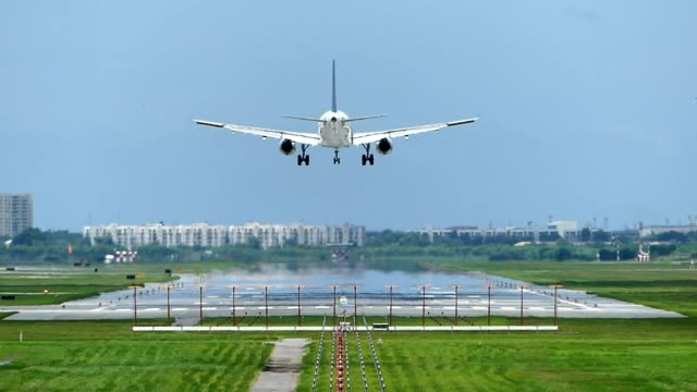 Airplane landing at the airport video