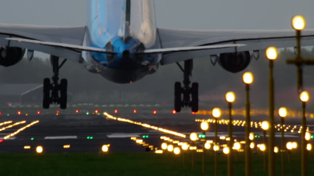 Airplane landing at the early morning video
