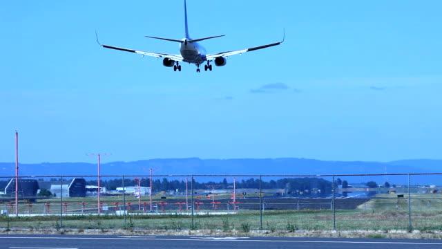 Airplane landing on a runway video