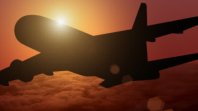 airplane silhouette at sunset video