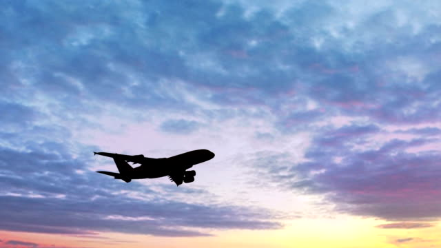 Airplane Silhouette Take Off  in the sunset video