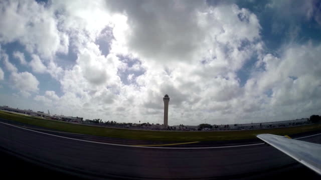 Airplane taking off from airport video