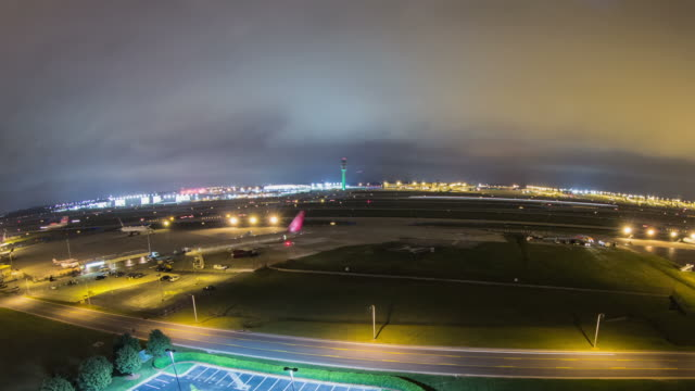 Airplane Time Lapse Airport Fisheye Pan video