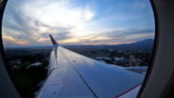 Airplane travel time is sunset video