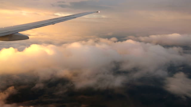 Airplane wing and sky view from window at dusk video