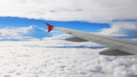 airplane Wing on flight over cloud video