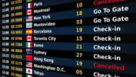 Airport departure board. Black and Blue. video
