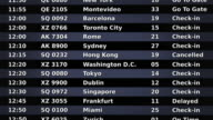 Airport departure board. Black and Gray. Without flags. video