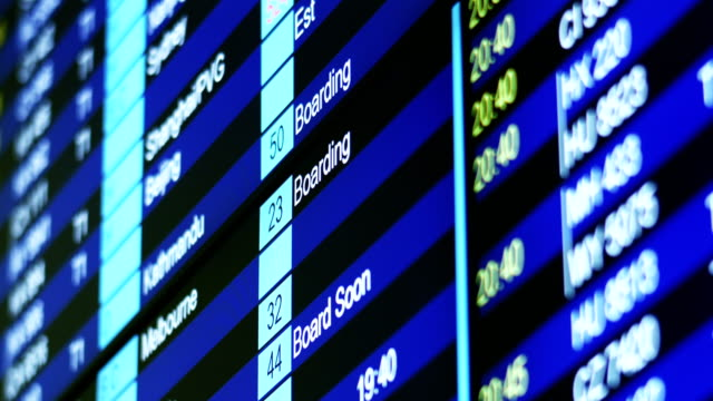 Airport Flight Timetable Information Board. video