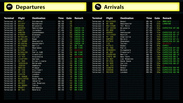 Airport timetable arrivals and departures board with changing flight information video
