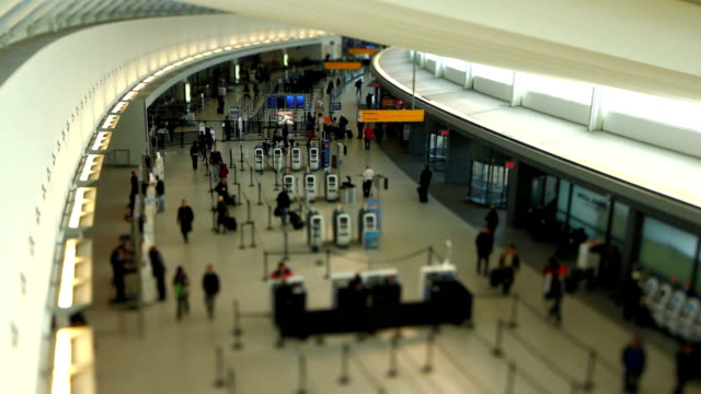 Airport Travelers Check-in Area Tilt Shift video