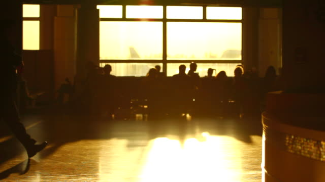 Airport Travelers People Silhouette Sunset video
