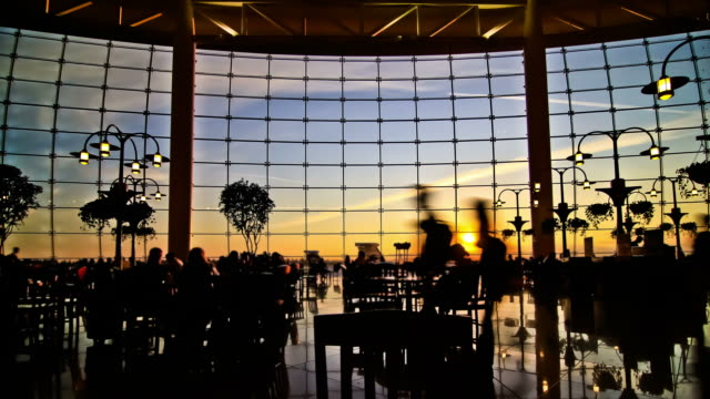 Airport Travelers Time Lapse People Silhouette Sunset video