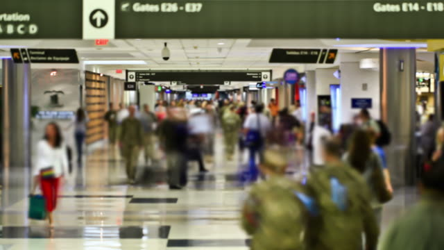 Airport Travelers Time Lapse People video