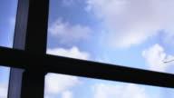 Airport window blue sky timelapse video