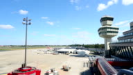 Airport with aircraft and radar tower video