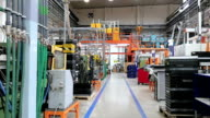 Aisle in factory processing injection molding video