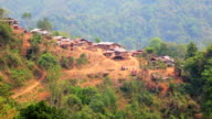 Akha tribe village on mountain, Pongsali, Laos video
