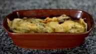 al forno pancake with chicken and mushrooms in bowl video