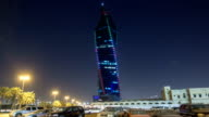 Al Tijaria Tower in Kuwait City night timelapse hyperlapse. Kuwait, Middle East video