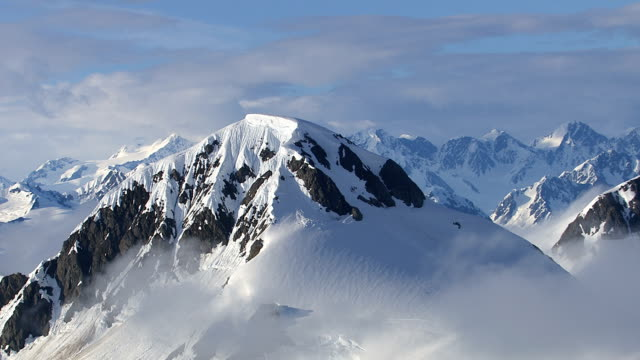 Alaska mountains and clouds, aerial shot video