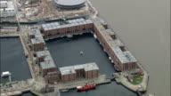 Albert Dock  - Aerial View - England,  Liverpool,  helicopter filming,  aerial video,  cineflex,  establishing shot,  United Kingdom video