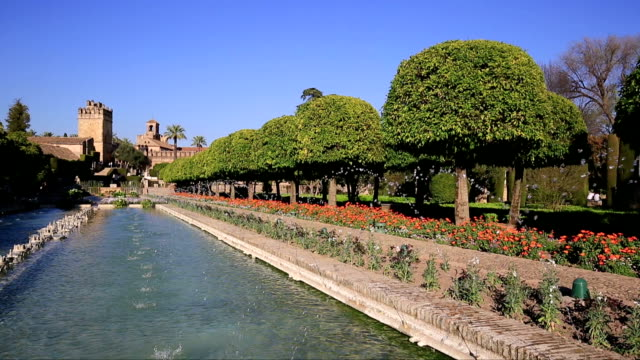 Alcazar palace gardens and fountains in Cordoba, Andalusia Spain video
