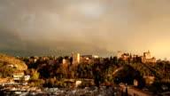 Alhambra castle in Granada under the rainbow video