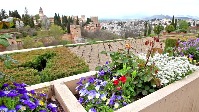 Alhambra fortress flowers video