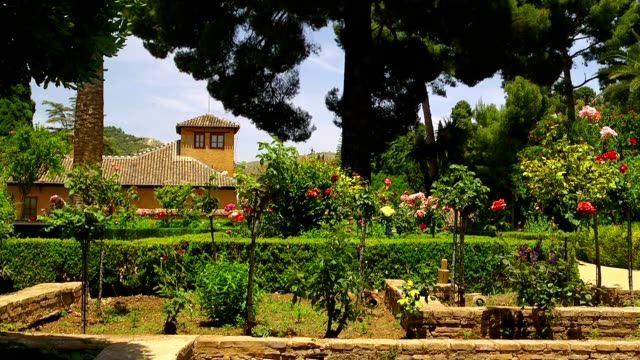 Alhambra park view. video