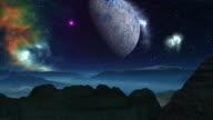 Alien planet, moon, and nebula video