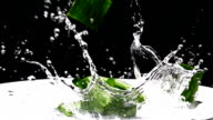aloe vera falling and water splash, Slow Motion video