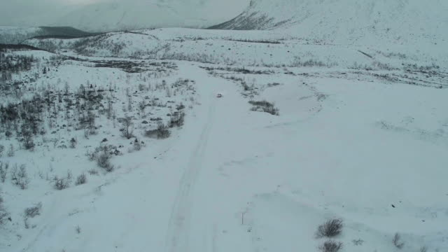 Alone Car On The Snowy Road video