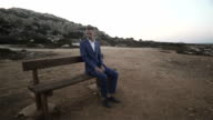 Alone Man Sitting On The Bench video