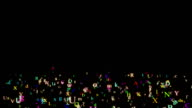 Alphabet, isolated on black background, loop video