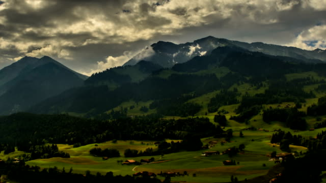 Alpine landscape in Berner Oberland fields and forest video