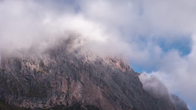 Alps european mountain time-lapse movement cloudy of Seceda south tyrol , Dolomites , Italy video