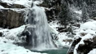 Alps waterfall winter view video